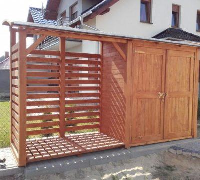 14. Drewutnia 1,95 x 1,1m + domek narzędziowy 2 x 1,1m z podwójnymi drzwiami z dachem łukowym do przodu