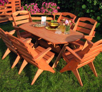1. Zestaw mebli ogrodowych 6 krzeseł + stół owal typ S