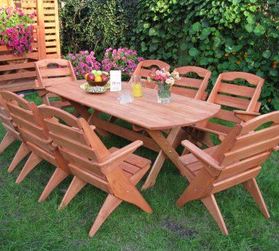 3. Komplet mebli 8 krzeseł + stół owalny 2m, typ S