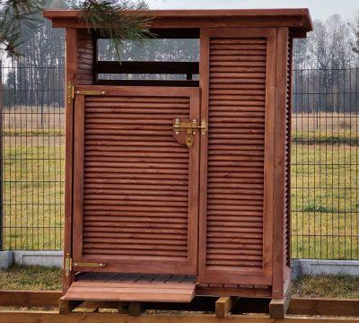 14. Zadaszenie na kosz + miejsce do segregacji z dachem prostym 1,65 x 0,87m, elewacja boki/przód żaluzjowa/tył deskowanie standard