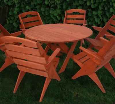 4. Zestaw mebli ogrodowych 6 krzeseł + stół okrągły, typ S