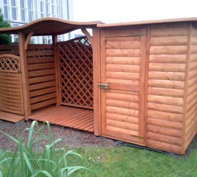 Zadaszenie na kosz 1 x 1,1m + drewutnia 2 x 1,1m dach fala + domek narzędziowy 1,5 x 1,1m elewacja półbal