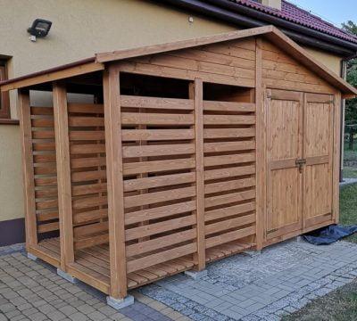 29. Drewutnia 2m.X 2m. + domek narzędziowy 2m.X 2m. Dach dwuspadowy, podwójne drzwi